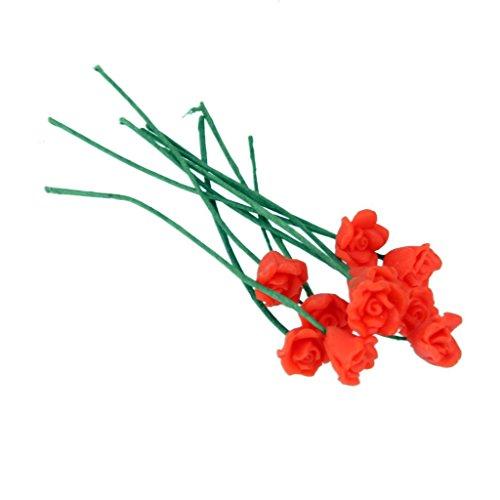 10pcs Miniatura Micro Paisaje Bonsai Flor Rosa Rojo Artificial Decoración Casa de Muñecas