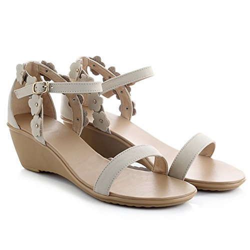 TAOFFEN Femme Mode Sangle De Cheveille Sandals Bout ouvert Talons Compenses Chaussures Avec Fleur Blanc