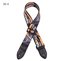 Biback Vintage Flowers Stripes Acoustic Electric Guitar Strap - Woven Embroidery Fabrics Leather Ends Strap.