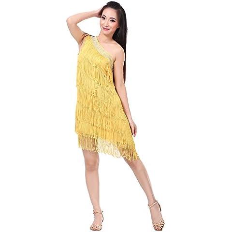 Dance Fairy Un hombro borlas con gradas de las mujeres oscilación rítmica de baile latino vestido de carnaval fiesta de disfraces