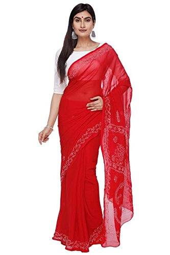 BDS Chikan Hand Embroidered Lucknow Chikankari Red Georgette Saree With Blouse For...