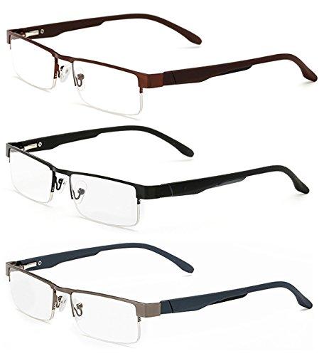Lesebrillen Metall Sehhilfe Augenoptik Halbrand Halbrandbrille Brille Lesehilfe für Damen Herren von 1.0 1.5 2.0 2.5 3.0 3.5 4.0 (3 Farben Set (Schwarz+Braun+Grau), 4.0)