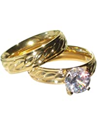 Yourjewellerybox - Anillo con detalle de anillo de matrimonio - para mujer - 18kt bañado en