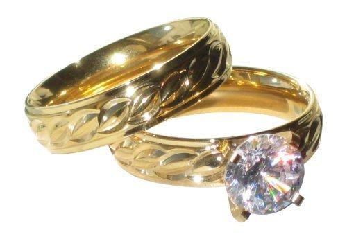 Yourjewellerybox - Anillo con detalle de anillo de matrimonio - para mujer - 18kt bañado en oro amarillo, talla 12 (16,56 mm)