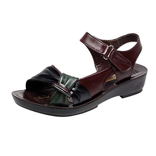 Yvelands Schuhe Damen Sommer Mode Leder Knoten Sandalen Wedges Komfort Große Größe(Braun,37)