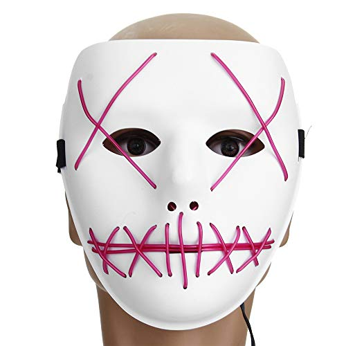 GOZAR Motorrad Halloween-Horror-Kostüm Light Up Face Maske Smiling Stitched Rave Cosplay - 3