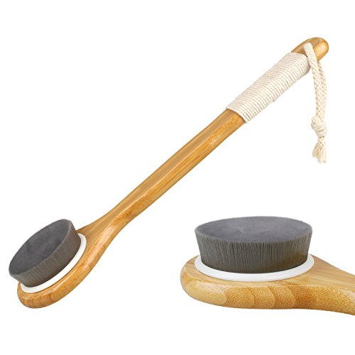 Molain Brosse de Bain pour Massage du Dos Corps Brosse de Douche Exfoliante Bath Brush avec Longue Poignée en Bambou Nettoyage en profondeur - Noir