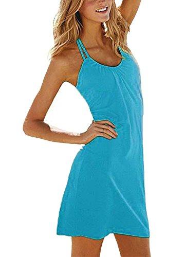 Damen Halfter Ärmellos Rundhalsausschnitt Kurzes Kleid Freizeitkleid Strandkleid Sommerkleid Seeblau