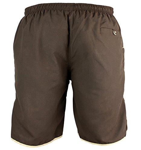 Lederhosen Badehose Bestickt, 3x große Hosentaschen - Innennetz - Herren Trachten-Hose für Urlaub oder Badesee - Bayrische Badeshorts in Lederhosenoptik (L, Braun) - 2