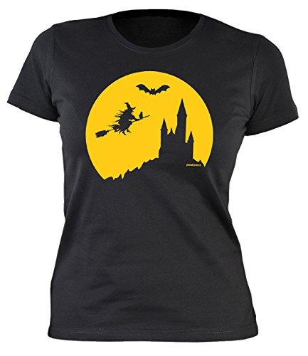 Tini - Shirts Halloween Damen T-Shirt - Coole Sprüche/Motive für Halloween : Halloween Hexe - Damenshirt Hexe Fledermaus Burg Gr: M