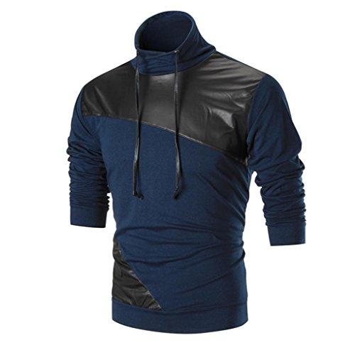 Amlaiworld Winter mode Freizeit Gemütlich Mäntel Warm Rundhals pullover Leder Flickwerk Sweatshirts für Herren (S, Dunkelblau)
