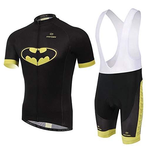 jersey Conjunto Ciclismo Transpirable De Secado Rápido Unisex Hombres/Mujeres Ciclismo Bicicleta Ciclismo Ropa De Ciclismo Montar Babero Shorts Batman Set B-M