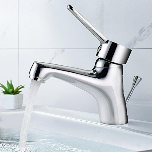 BONADE Chrom Einhebelmischer Waschtischarmatur Waschbecken-Armatur mit Ablaufgarnitur Exzentergarnitur Mischbatterie Badarmatur für Badezimmer Waschbecken