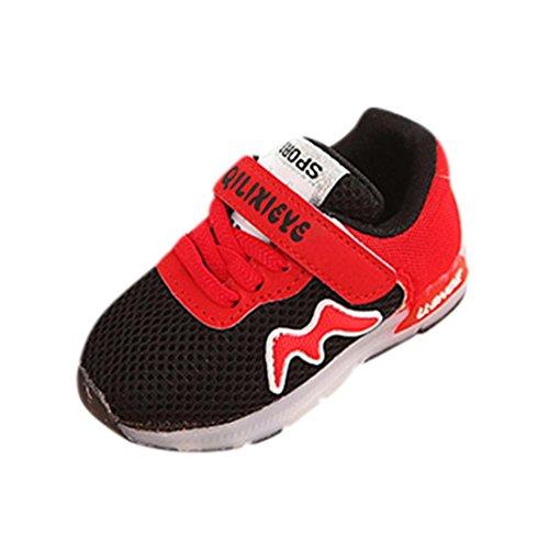 LED Leuchten Schuhe Kleinkind Kinder, DoraMe Baby Jungen Mädchen Mesh Atmungsaktive Sportschuhe Unisex Patchwork Turnschuhe Anti-rutsch Sneaker für 1-6 Jahr (2.5-3 Jahr/Size(CN):24, Schwarz) (Indigo Patchwork)