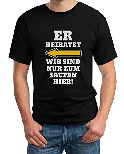 JGA Kombi Shirt - Links, Er Heiratet Wir Sind Nur Zum Saufen Hier Polterabend Junggesellenabschied Männer Herren T-Shirt Medium Schwarz