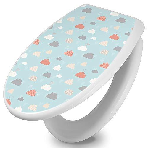 banjado Toilettendeckel mit Absenkautomatik | WC Sitz 42cm x 4cm x 37cm | Klodeckel weiß | Klobrille mit Edelstahl Scharnieren | Toilettensitz mit Motiv Cloud Surfing