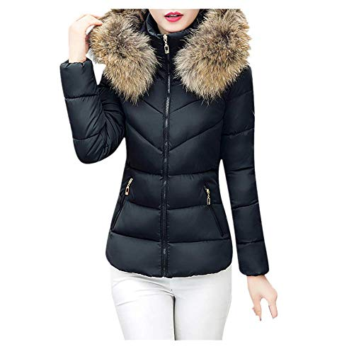 SEWORLD Damen Daunenjacke, 2018 Mode Cotton Down Jacket Short Coat Women Solid Slim Thick Large Fur Collar Hooded Winter Warm Parkas Overcoat Zipper Padded Tops Outwear(X1-schwarz,EU-40/L2) (Damen Fell Hooded Down Coat)