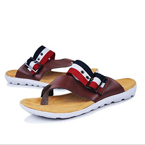 Männer Pantoffel Mode Rindsleder Flip Flops Anti-Rutsch langlebig und komfortable Sandalen , white , 41