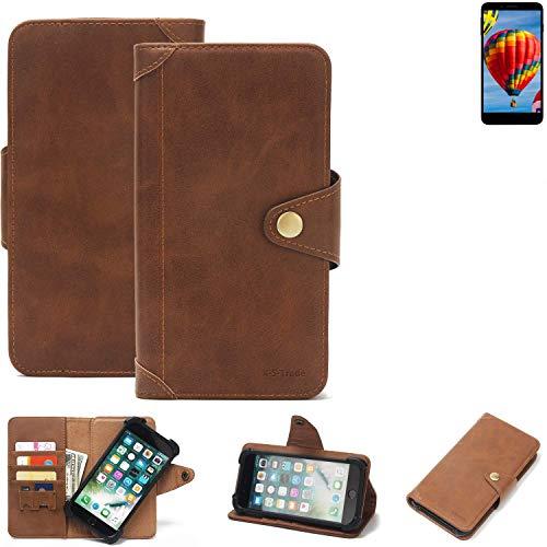 K-S-Trade Handy Hülle für Vestel V3 5030 Schutzhülle Walletcase Bookstyle Tasche Handyhülle Schutz Case Handytasche Wallet Flipcase Cover PU Braun (1x)