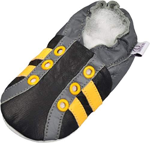 Lappade Lederpuschen Hausschuhe Babyschuhe Lauflernschuhe mit Gummisohle Gr.19-31 Sport gelb Ösen Art.19G -