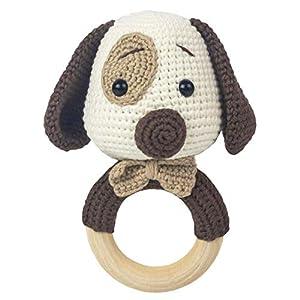 Häkel-Hund  – Amigurumi Greifling – Rassel – Ring aus Holz – Babyrassel – Geschenk für Babys – Mädchen und Jungen – Babyspielzeug