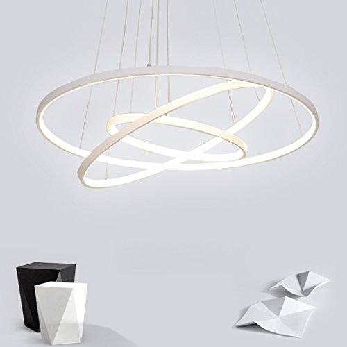 72W LED Pendelleuchte Esstisch Modern Drei Ring Design Lampe Innen Beleuchtung Hängelampe Acryl Kreative Leuchte Einfache Dekoration Kronleuchter für Wohnzimmer Esszimmer Dimmbar Stufenlos Lüster , Weiß Kleine Kristall-leuchte