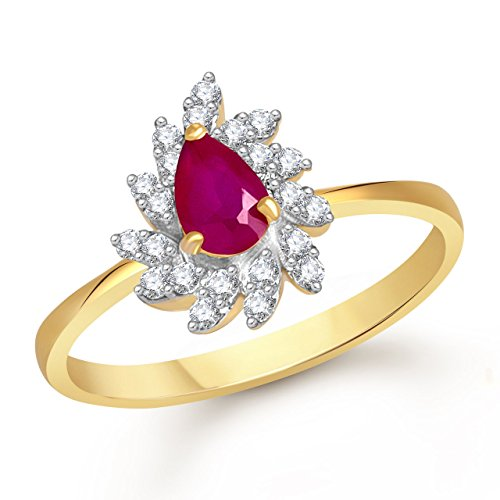 Meenaz Ruby 24K Ring South Indian Traditional Gold Ring For Girls & Women In American Diamond Cubic Zirconia Ring FR435  available at amazon for Rs.176