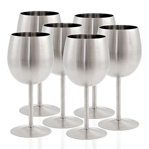 Zelsius - Juego de Copas de Vino de Acero Inoxidable, Copas de Vino Tinto, Copas de Vino Blanco, Copas de Vino con Mango para Camping, Exteriores.