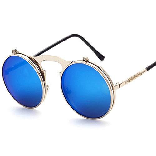 YUHANGH Sonnenbrille Rund Designer Steam Punk Metall Damen Sonnenbrille Sonnenbrillen Herren Retro Circle Sun Brilles