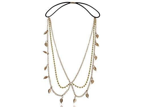 Golden Tone Delicate Yellow Crystal Rhinestone Leaf Chain Hair Piece Headband