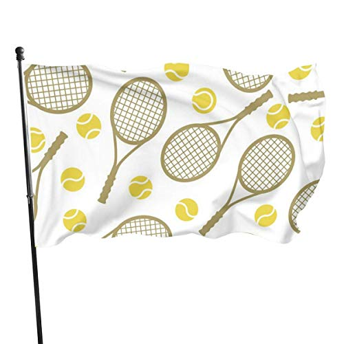 Oaqueen Premium Flagge/Fahne Tennis Rackets and Tennis Balls Home Vintage Garden Yard Decoration Rustic Outdoor Decor Decorative Large Flag