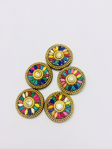 wood buttons multicolour crafted with stone for kurtis growns by 5