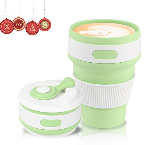 Jazz Pose Faltbarer Becher Kaffeebecher, Umweltfreundlich Kaffeetassen, Silikon Becher, Klappbecher, Tragbarer und Wiederverwendbarer Kaffeebecher, BPA-frei(Grün, 350 ML/12 OZ)
