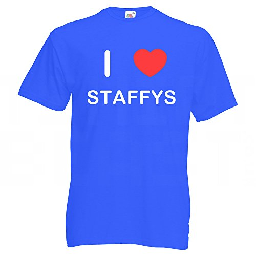 I Love Staffys - T-Shirt Blau