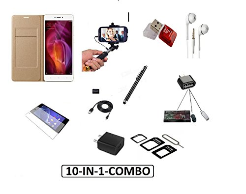 PREGO (Buy 5 get 5 Free Combo ) Full Golden Leather Flip Cover -Tempered Glass-Fast Charging Adapter-Data Cable-Selfie Stick Aux With Free (Mini Otg Adapter,Handsfree,USB Card Reader,sim Adapter and Universal Stylus Black Touch Sceen Pen) For Xiaomi Redmi Note 3 (Mi Note 3)