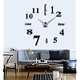 Stylish Large Diy Quartz 3d Wall Clock Acrylic Sticker Wall Clock - 015 Black