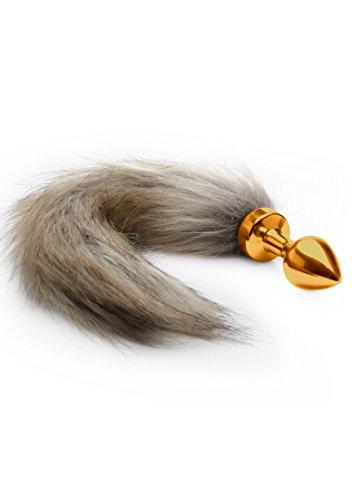Ouch! - Fox Tail Buttplug - Analplug mit Fuchsschwanz aus Kunstfell - goldfarben / braun