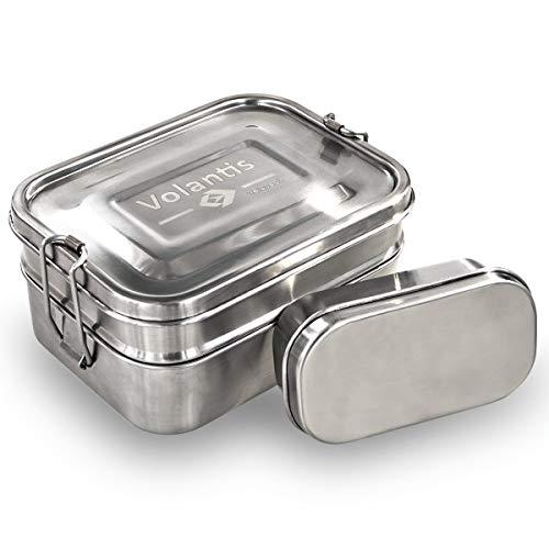 Volantis EINFÜHRUNGSANGEBOT Brotdose aus matt gebürstetem Edelstahl 3-teilig mit Kleiner Zusatzbox - Umweltfreundliche Lunchbox für Kinder und Erwachsene - hochwertig & robuste Edelstahl-Brotbox