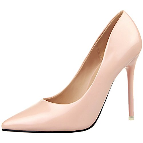 Mujer Stiletto Zapatos de tacón De BIGTREE Sencillo Pointed Toe Tacones altos Vestir Zapatos Rosa 35 EU