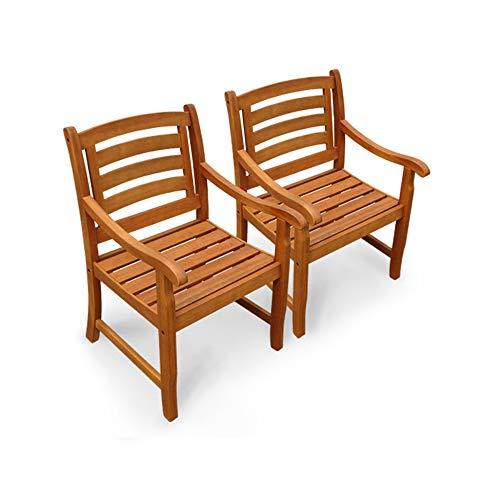 Indoba Hochwertige Garten Stuhl 2er Set Eukalyptus Holzstuhl für Gartentisch Holzstühle