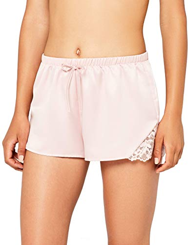 Iris & Lilly Damen Schlafanzughose mit Spitzenbesatz, Pink (Peach Skin), Large