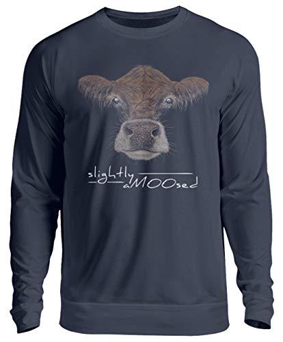Slightly aMOOsed, etwas amuhsiert | Kuh Wortspiel für humorvolle Rinder-Fans und Landwirte - Unisex Pullover -L-Oxford Navy