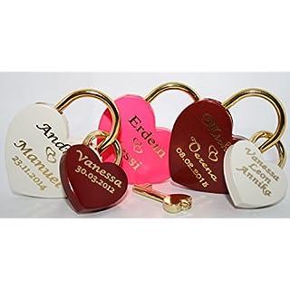 Familienschloss Liebesschloss Herz Groß+ 2 Kleine in Rot, Weiß und Pink mit Gravur nach Wunsch Vorhängeschloss