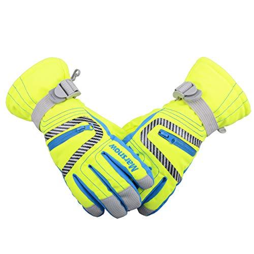 TRIWONDER Wasserdichte Ski Snowboard Handschuhe Thermische warme Winter Schnee Ski Handschuhe für Männer, Frauen und Kinder (Fluoreszierend grün, M (9-14 Jahre))