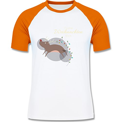 Weihnachten & Silvester - Verrückter Weihnachtselch Frohe Weihnachten - zweifarbiges Baseballshirt für Männer Weiß/Orange