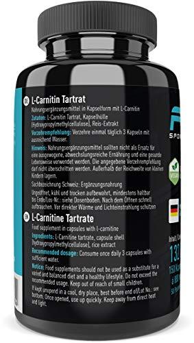 L-Carnitin Tartrat hochdosiert 150 Kapseln, 735 mg L-Carnitin Tartrat pro veganer Kapseln ohne Zusätze – von der Profisport-Marke FSA Nutrition, Hergestellt in Deutschland