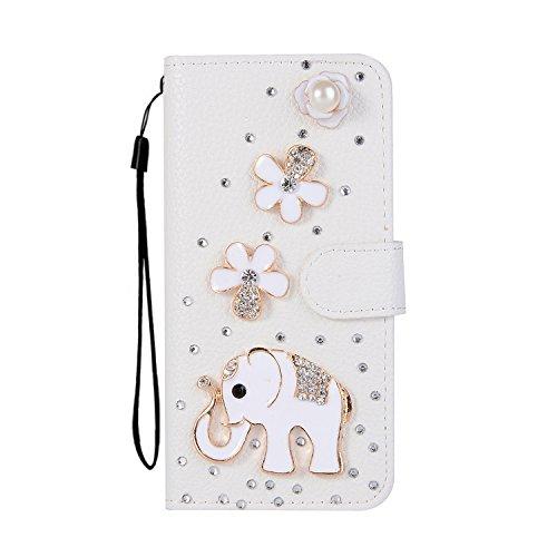 Custodia per iPhone 8 Plus / 7 Plus DIY Brillantini Portafoglio - Girlyard 3D Bling Glitter Crystal Strass Diamante Cover in Pelle Colorata Fiore Farfalla Disegno Libro Antiurto Supporto Wallet Chiusu Bianco Elefante