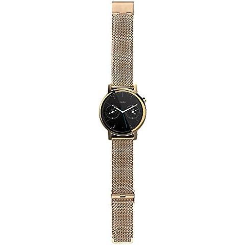 WayIn® Enlace venda de la correa del reloj del acero 16MM Señora inoxidable con cierre desplegable duradero para Motorola Moto 360 (2ª generación) de reloj inteligente Moto 360 venda de reloj (Oro)