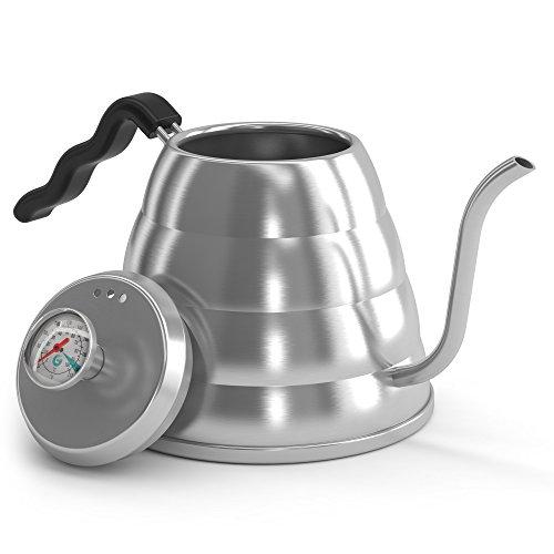 Handbrüh-Kaffeekessel 1,2 L aus Edelstahl - Damit Ihre Bohnen nicht mehr verbrennen, mit Thermometer von Coffee Gator eingebaut - Für einen perfekten, per Hand aufgegossenen Filterkaffee