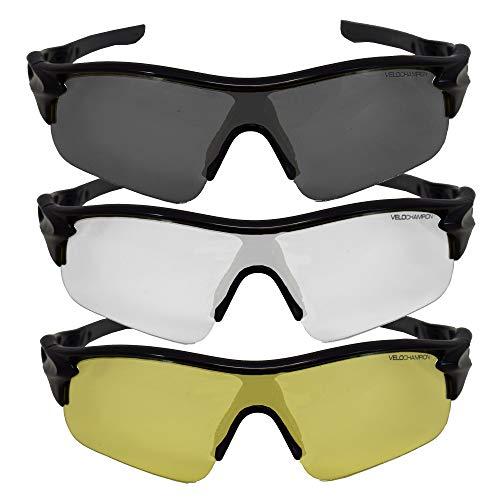 VeloChampion Warp Rahmen Sonnenbrille (mit 3 Linsen) Radfahren, Sport, Radsport-Sport austauschbar, gelb, klar, Linse (Schwarz)